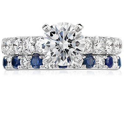Riviera Pavé Sapphire and Diamond Eternity Ring in Platinum (2.1 mm)