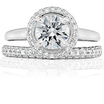 Monique Lhuillier Trio Micropavé Diamond Ring in Platinum (1/2 ct. tw.)
