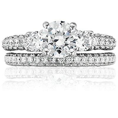 Monique Lhuillier Trio Micropavé Diamond Ring in Platinum (1/2 ct. tw.)