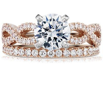 14k 玫瑰金 Riviera 密钉钻石永恒戒指<br>(1/2 克拉总重量)