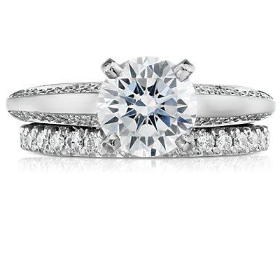 French Pavé Diamond Ring in Platinum (1/4 ct. tw.)