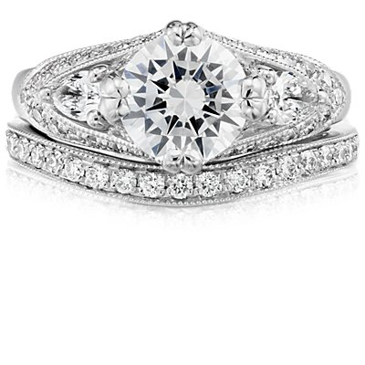 ZAC Zac Posen Milgrain Curved Diamond Ring in 14k White Gold (1/4 ct. tw.)