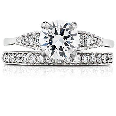 鉑金 Monique Lhuillier 鋸狀鑽石戒指(1/4 克拉總重量)