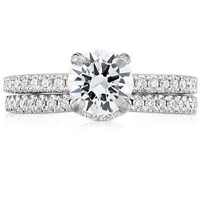 铂金经典曲形密钉钻石戒指<br>(1/6 克拉总重量)