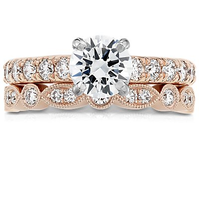 Milgrain Marquise and Dot Diamond Ring in 14k Rose Gold (1/5 ct. tw.)