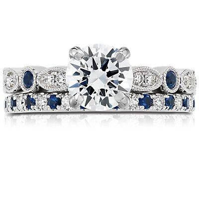 リビエラパヴェサファイアとダイヤモンドのリング  (K14ホワイトゴールド)(1.5mm)