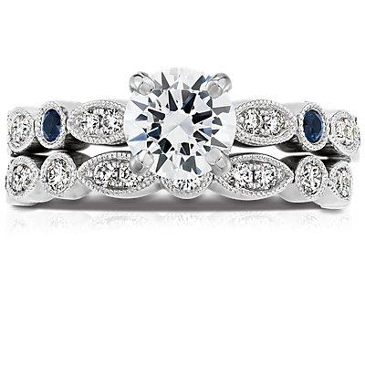 14k 白金鋸狀欖尖形及圓點鑽石訂婚戒指(1/5 克拉總重量)