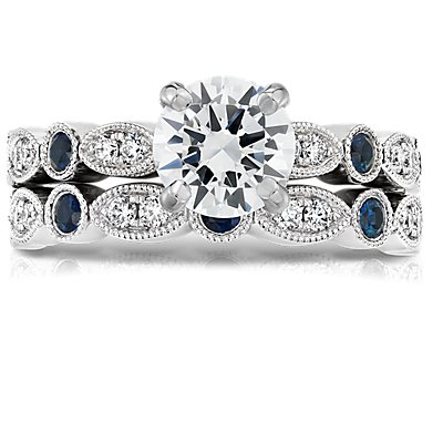 Milgrain Marquise Diamond and Sapphire Ring in 14k White Gold (1/10 ct.tw.)