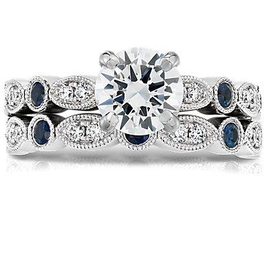 14k 白金鋸狀欖尖形鑽石與藍寶石戒指(總重量 1/10 克拉)