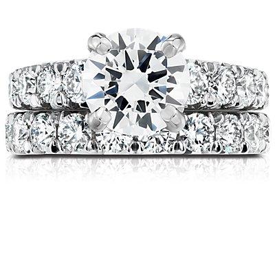 鉑金法式密釘鑽石永恆戒指(2 克拉總重量)