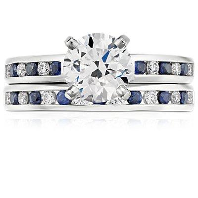 Bague diamants et saphirs bleus sertis barrette en or blanc 18carats