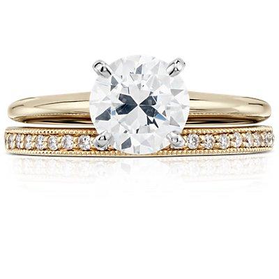 18k 金 Riviera Pavé 家传之宝钻石戒指(1/8 克拉总重量)