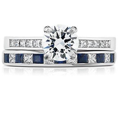 18k 白金迫鑲公主方形藍寶石與鑽石戒指