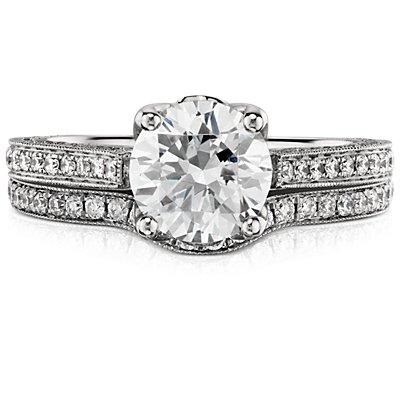 Bague en diamant millegrain Monique Lhuillier en platine (1/6carat, poids total)