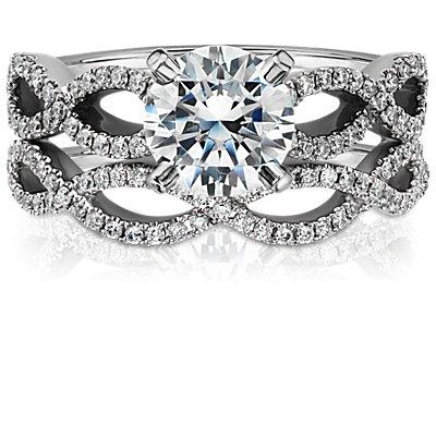 Infinity Twist Micropavé Diamond Wedding Ring in 14k White Gold