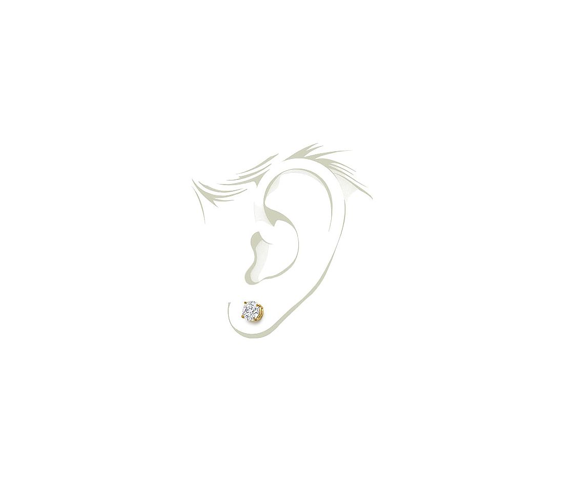 Four-Claw Earrings in 18k Yellow Gold