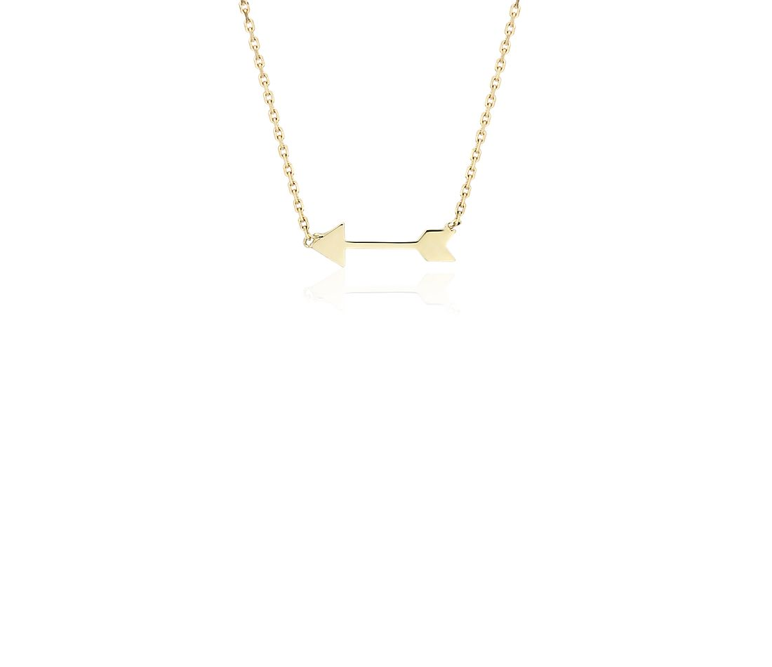 Petite Arrow Necklace in 14k Yellow Gold