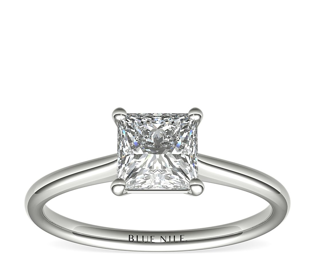 1-1/4 Carat Astor Princess-Cut Petite Solitaire in Platinum (H/SI2) Ready-to-Ship