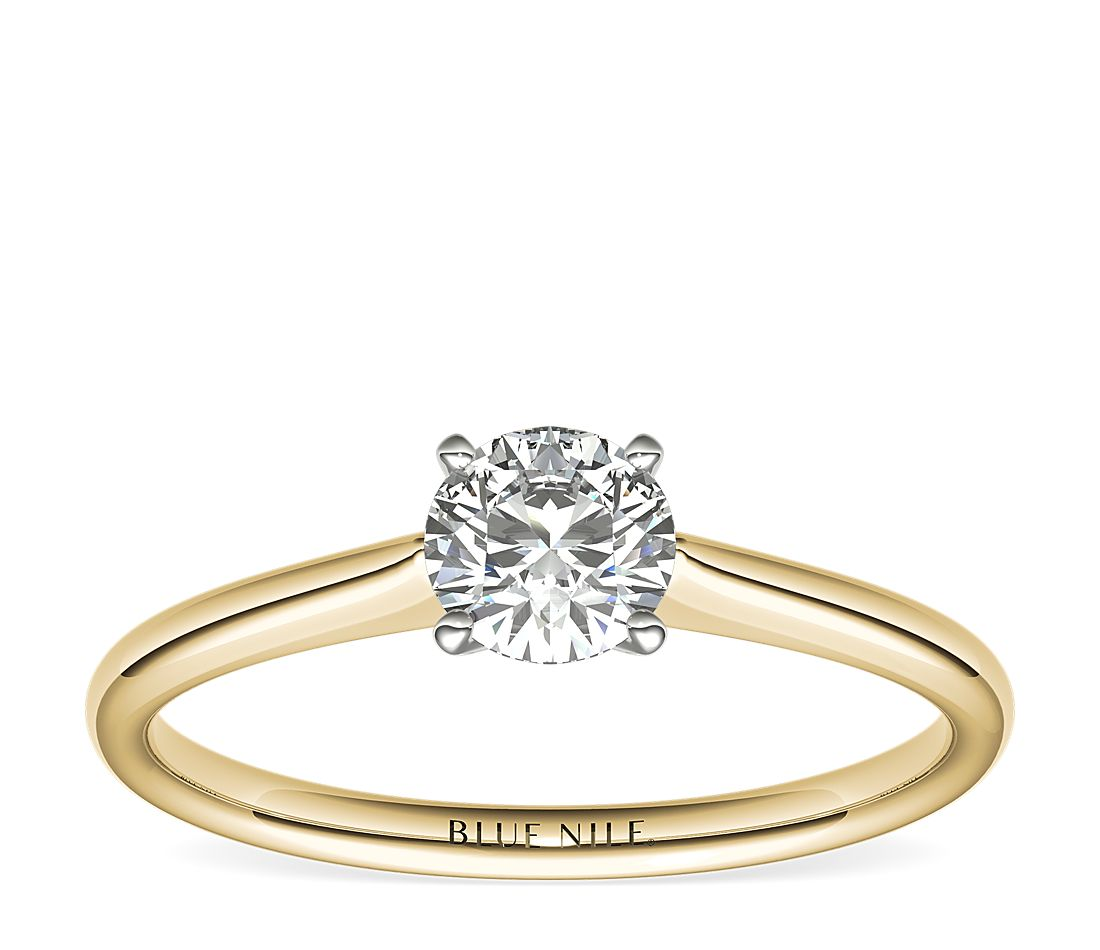 1/2 Carat Petite Solitaire Engagement Ring in 18k Yellow Gold (I/SI2) Ready-to-Ship