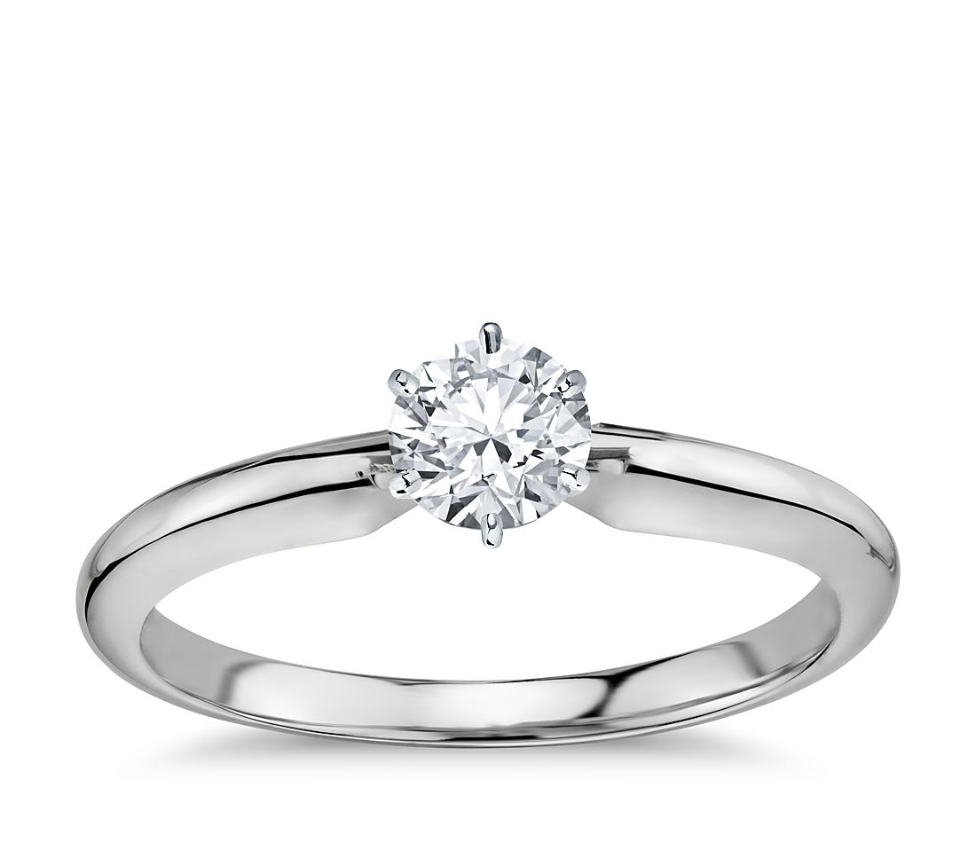 1/2 Carat Preset Classic Six Prong Engagement Ring in 14k White Gold