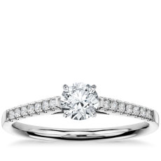 1/2 Carat Preset Petite Cathedral Pavé Diamond Engagement Ring in 14k White Gold (1/6 ct. tw.)