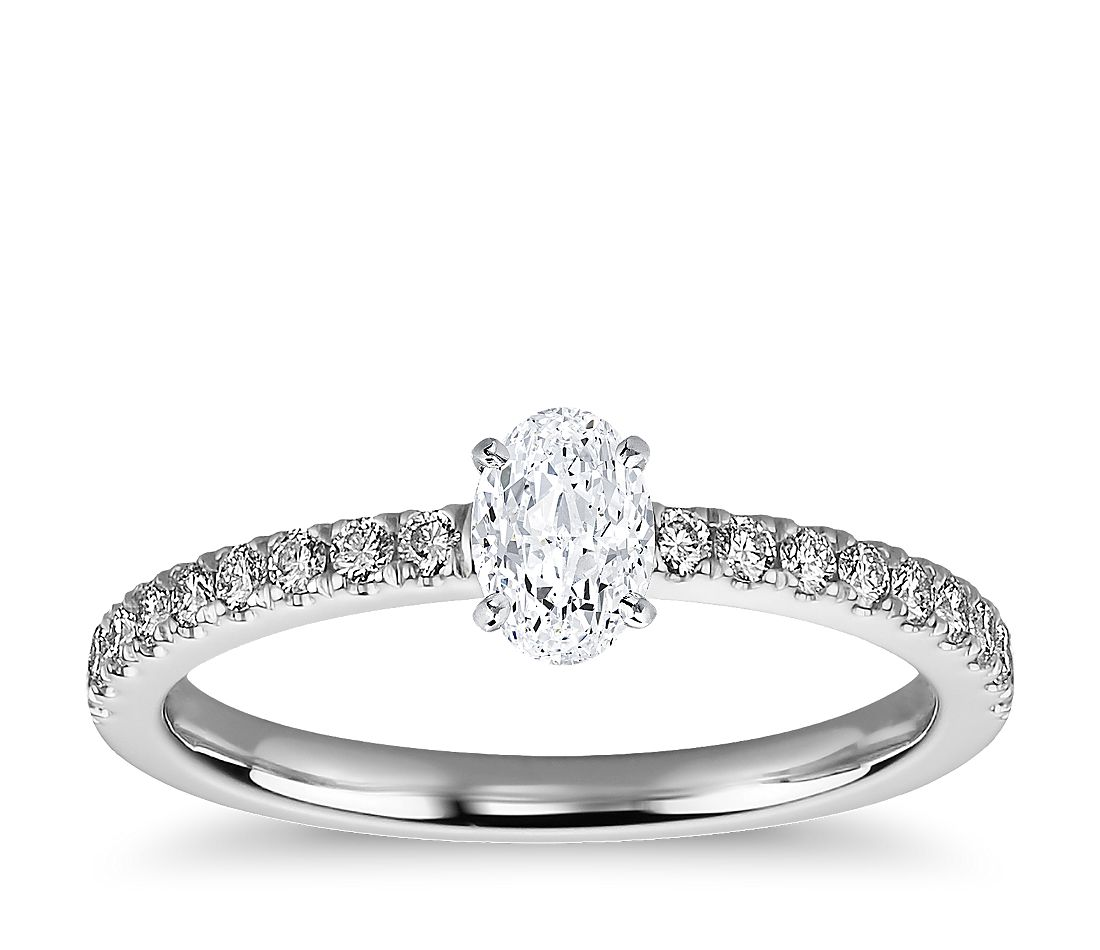 1/2 Carat Ready-to-Ship Oval-Cut Petite Pavé Diamond Engagement Ring in 14k White Gold