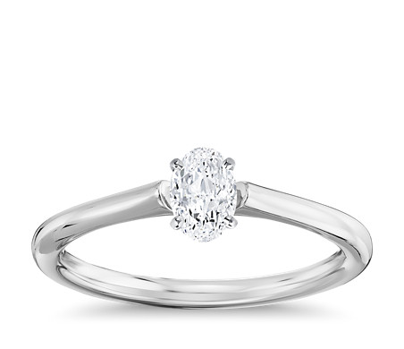 1/2 Carat Ready-to-Ship Oval-Cut Petite Solitaire Engagement Ring in 14k White Gold