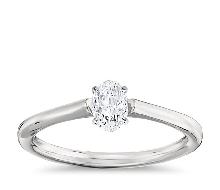 1/2 Carat Ready-to-Ship Oval-Cut Petite Solitaire Engagement Ring in Platinum
