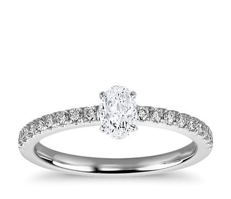 1/2 Carat Ready-to-Ship Oval-Cut Petite Pavé Diamond Engagement Ring in Platinum