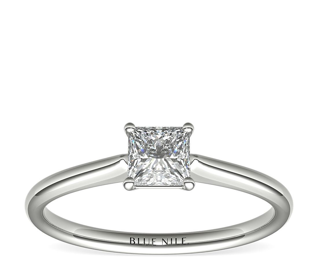 1/2 Carat Astor Princess-Cut Petite Solitaire in Platinum (F/VS2) Ready-to-Ship