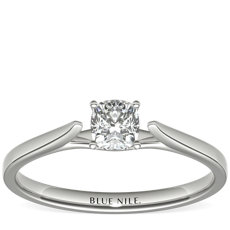 1/2 Carat Astor Cushion-Cut Petite Cathedral Solitaire in Platinum (H/SI2) Ready-to-Ship