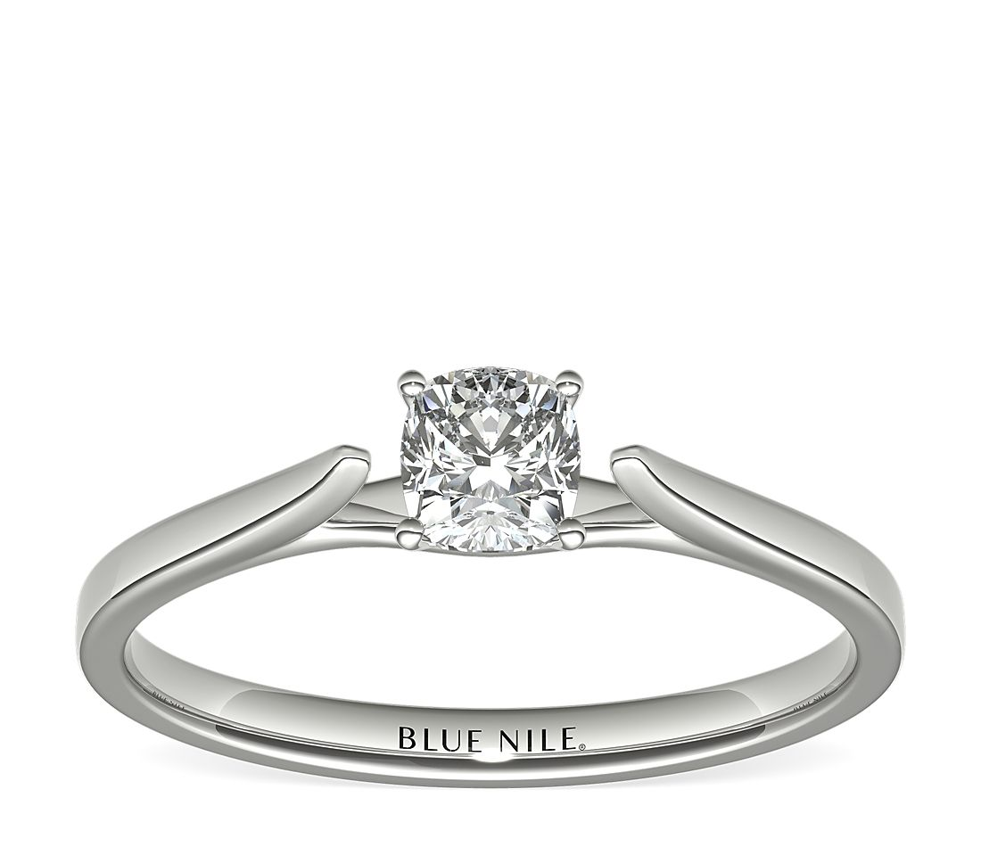 1/2 Carat Astor Cushion-Cut Petite Cathedral Solitaire in Platinum (F/VS2) Ready-to-Ship