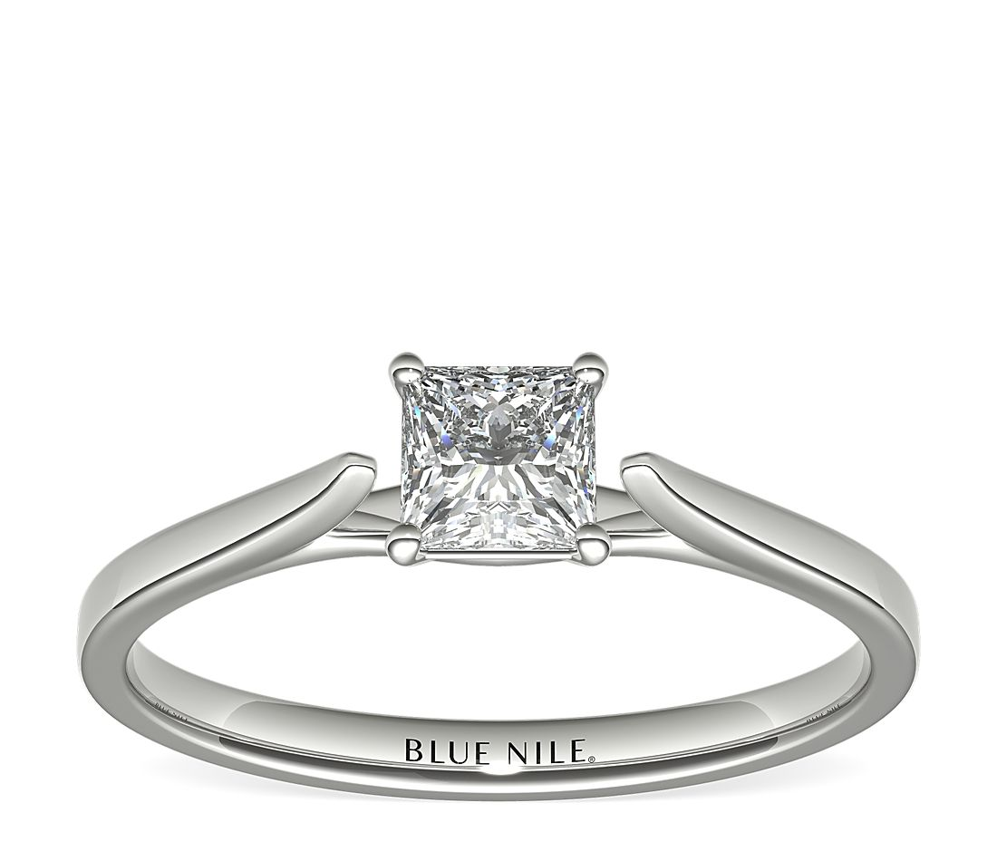 1/2 Carat Astor Princess-Cut Petite Cathedral Solitaire in Platinum (F/VS2) Ready-to-Ship