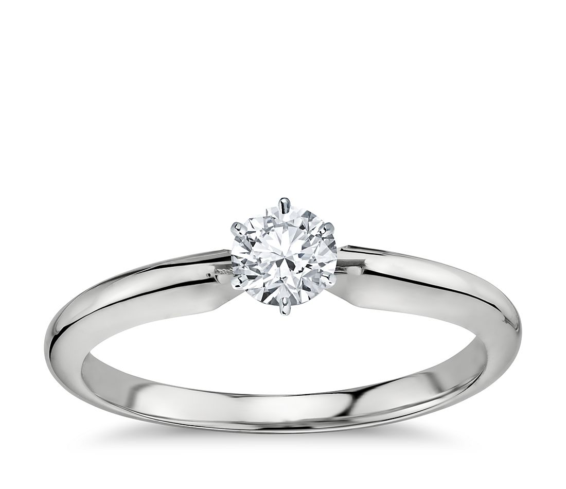 1/3 Carat Preset Classic Six Prong Engagement Ring in 14k White Gold