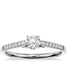 1/3 Carat Preset Petite Cathedral Pavé Diamond Engagement Ring in 14k White Gold (1/6 ct. tw.)