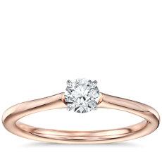 1/3 克拉14k 玫瑰金预镶嵌小巧单石订婚戒指