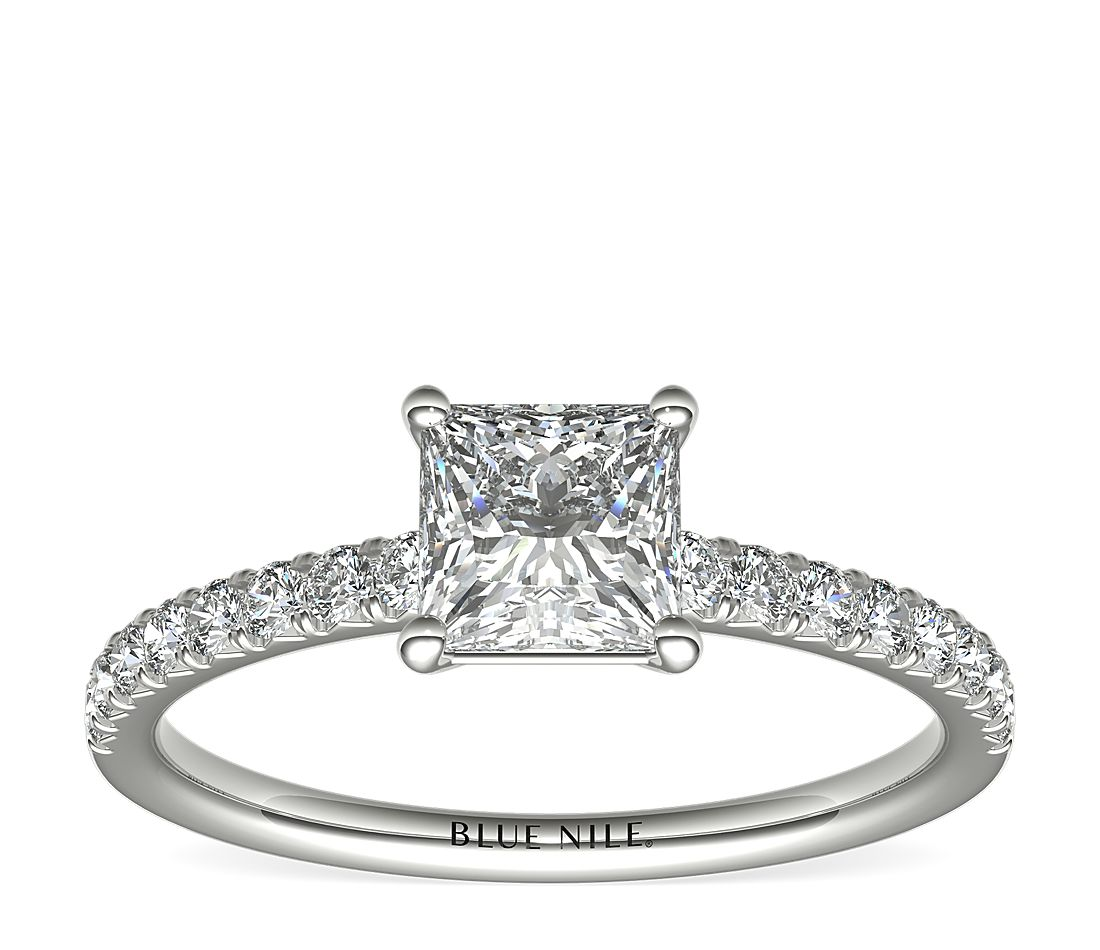 1 Carat Princess-Cut French Pavé Diamond Engagement Ring in Platinum (H/VS2) Ready-to-Ship