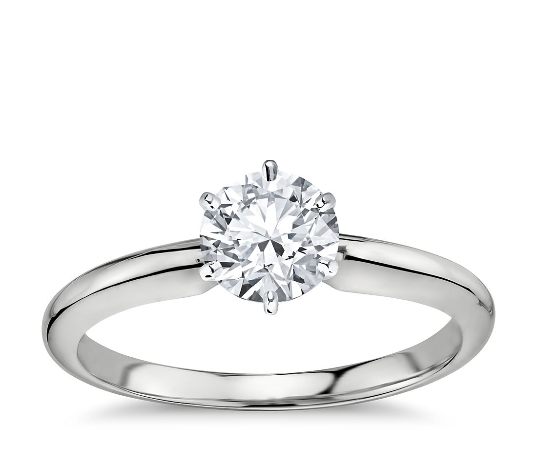 1 Carat Preset Classic Six Prong Engagement Ring in 18k White Gold