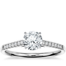 1 Carat Preset Petite Cathedral Pavé Diamond Engagement Ring in 14k White Gold (1/6 ct. tw.)