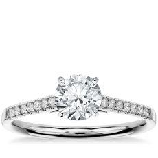 1 克拉 预镶嵌小巧大教堂密钉钻石订婚戒指 (14k 白金(1/6 克拉总重量))