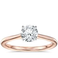 1 克拉14k 玫瑰金预镶嵌小巧单石订婚戒指