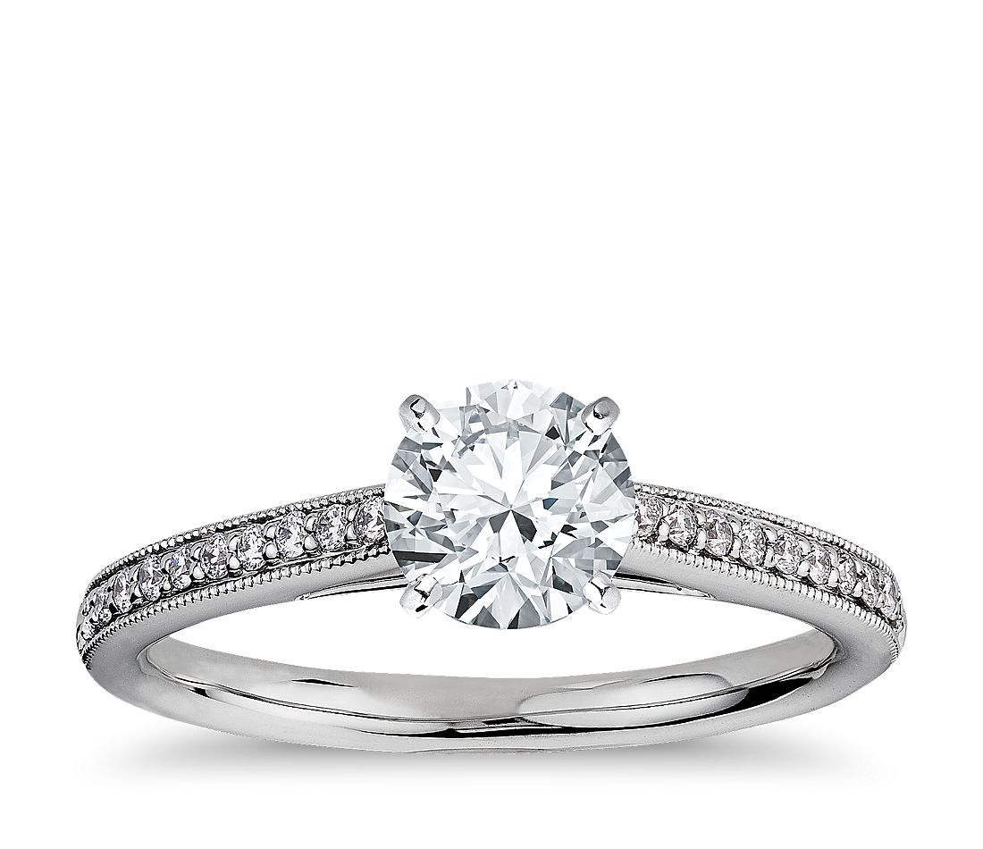 1 Carat Preset Riviera Pavé Heirloom Cathedral Diamond Engagement Ring