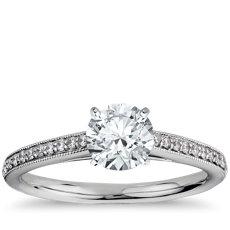 1 克拉预镶嵌 Riviera Pavé 家传之宝大教堂钻石订婚戒指