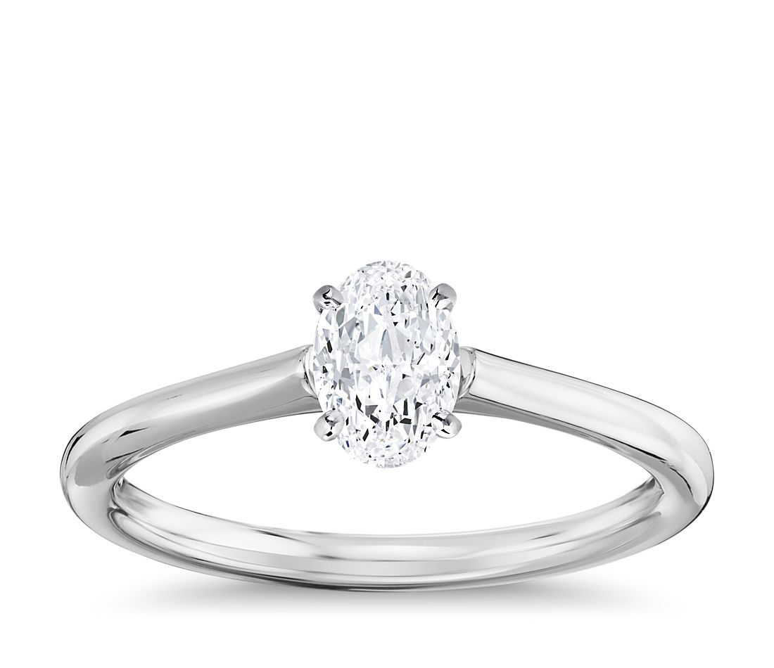 1 Carat Ready-to-Ship Oval-Cut Petite Solitaire Engagement Ring in 14k White Gold