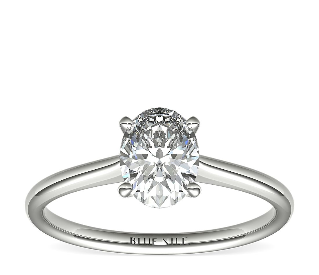 1 Carat Ready-to-Ship Oval-Cut Petite Solitaire Engagement Ring in Platinum