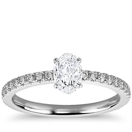 Black Diamond Ring 1 Ct Tw Oval Cut 14k White Gold: 1 Carat Ready-to-Ship Oval-Cut Petite Pavé Diamond
