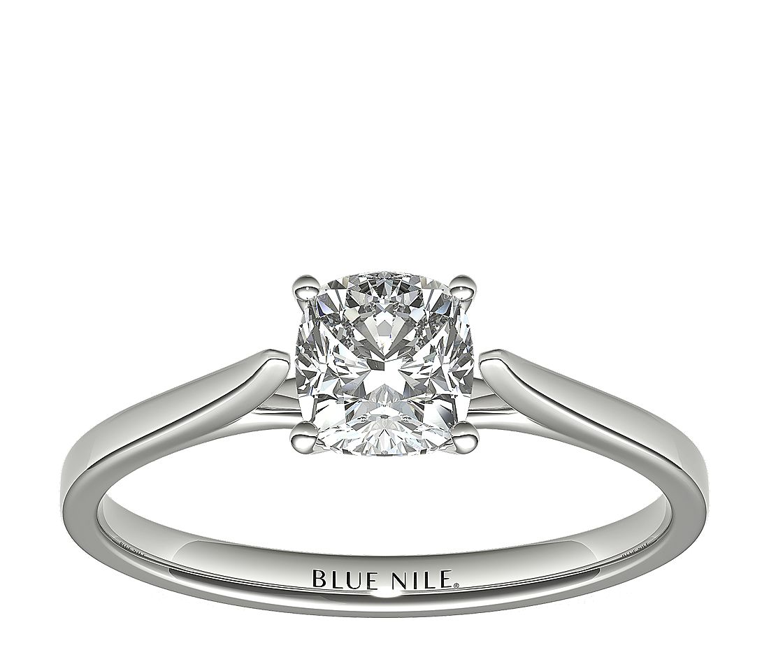 1 Carat Astor Cushion-Cut Petite Cathedral Solitaire in Platinum (H/SI2) Ready-to-Ship