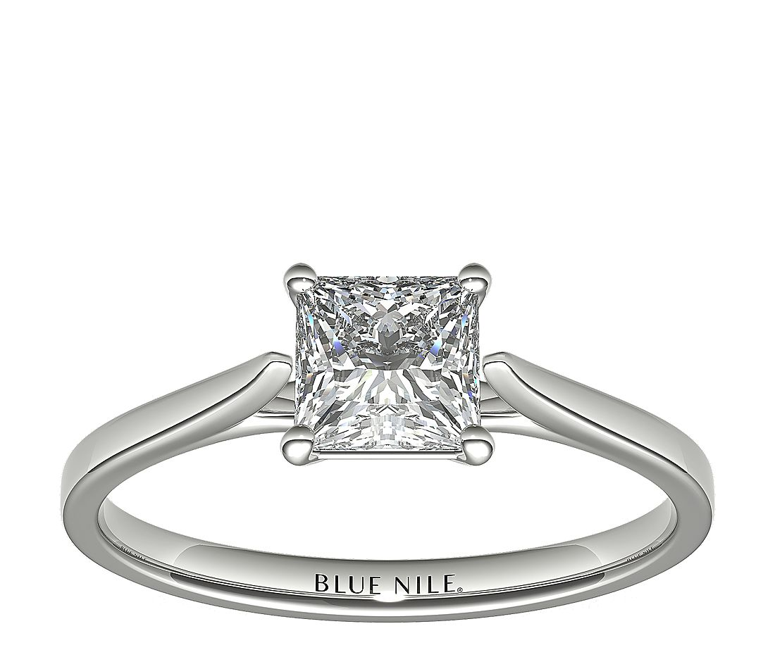 1 Carat Astor Princess-Cut Petite Cathedral Solitaire in Platinum (H/SI2) Ready-to-Ship