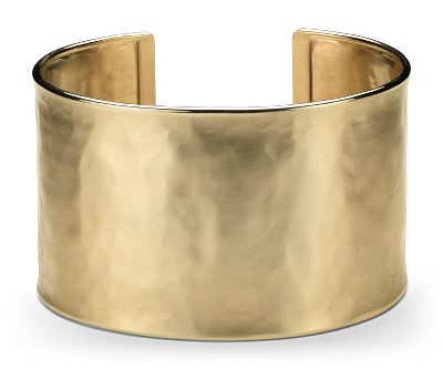 Wide Hammered Cuff Bracelet in 14k Yellow Gold Blue Nile