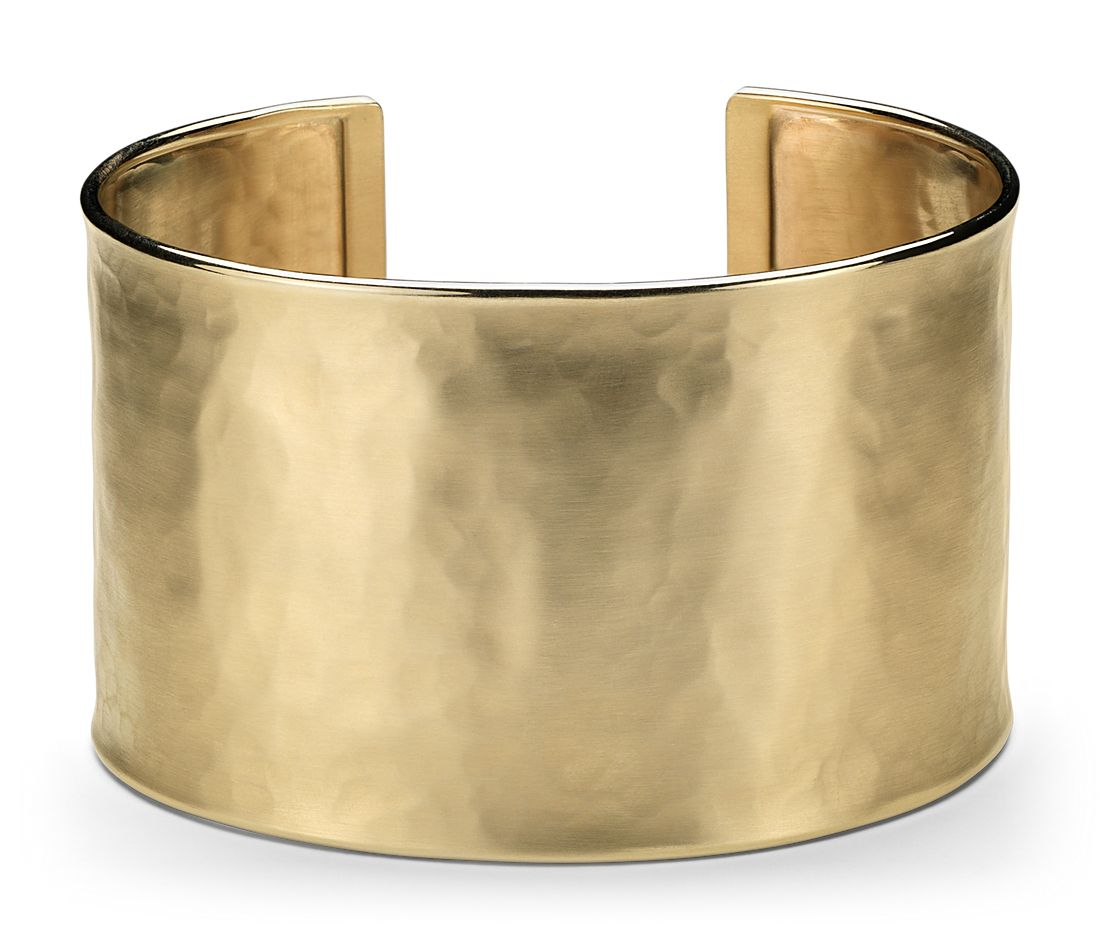 Wide Hammered Cuff Bracelet in 14k Yellow Gold